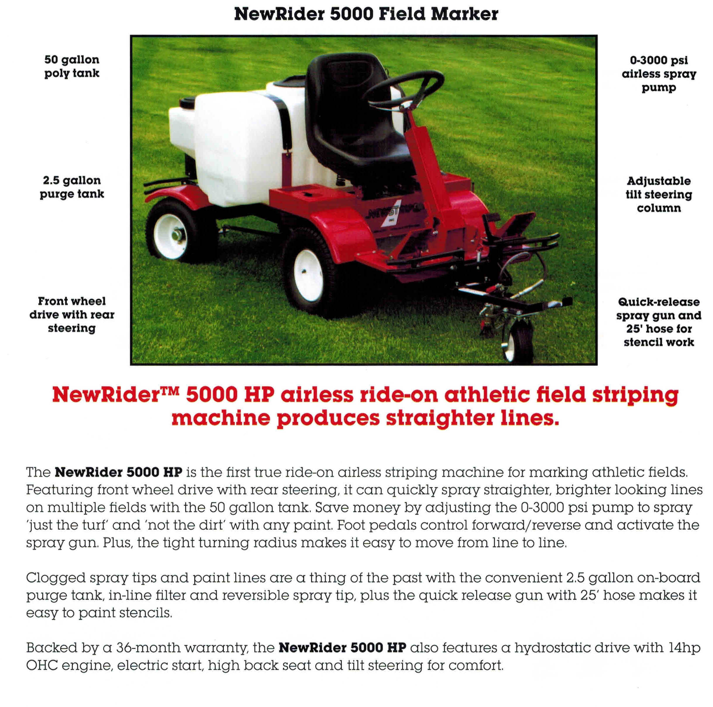 Features NewRider 5000 Ride-On, Self-Propelled Airless Athletic Field Striping Machine