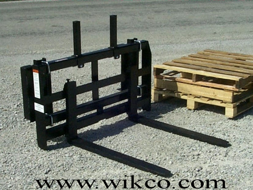 Rail Style Front Loader Pallet Forks For Compact Tractors With Loader Arms No Greater Than 50 Inches Wide