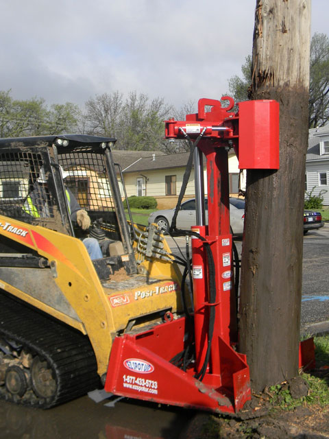 Skid Steer Mounted Hydraulic Powered Polejack Attachment