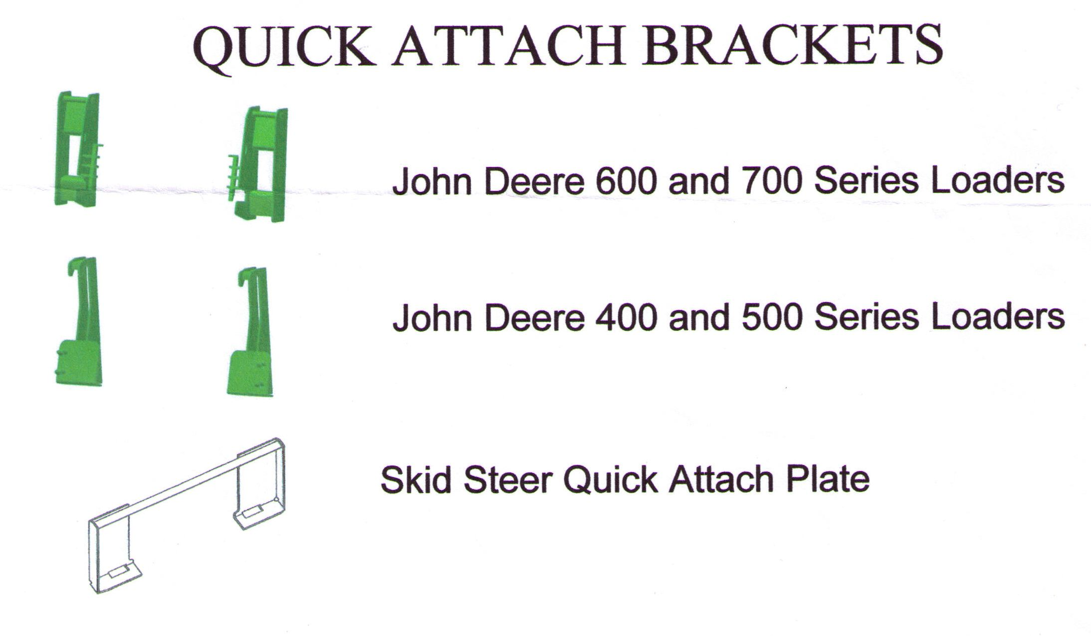 Weld On Quick Attach Brackets For John Deere And Weld On Skid Steer Plate For Skid Loaders That Are Quick Attach