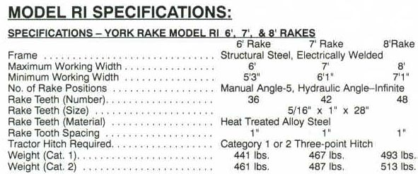 Specifications 6-8 Ft. Rakes