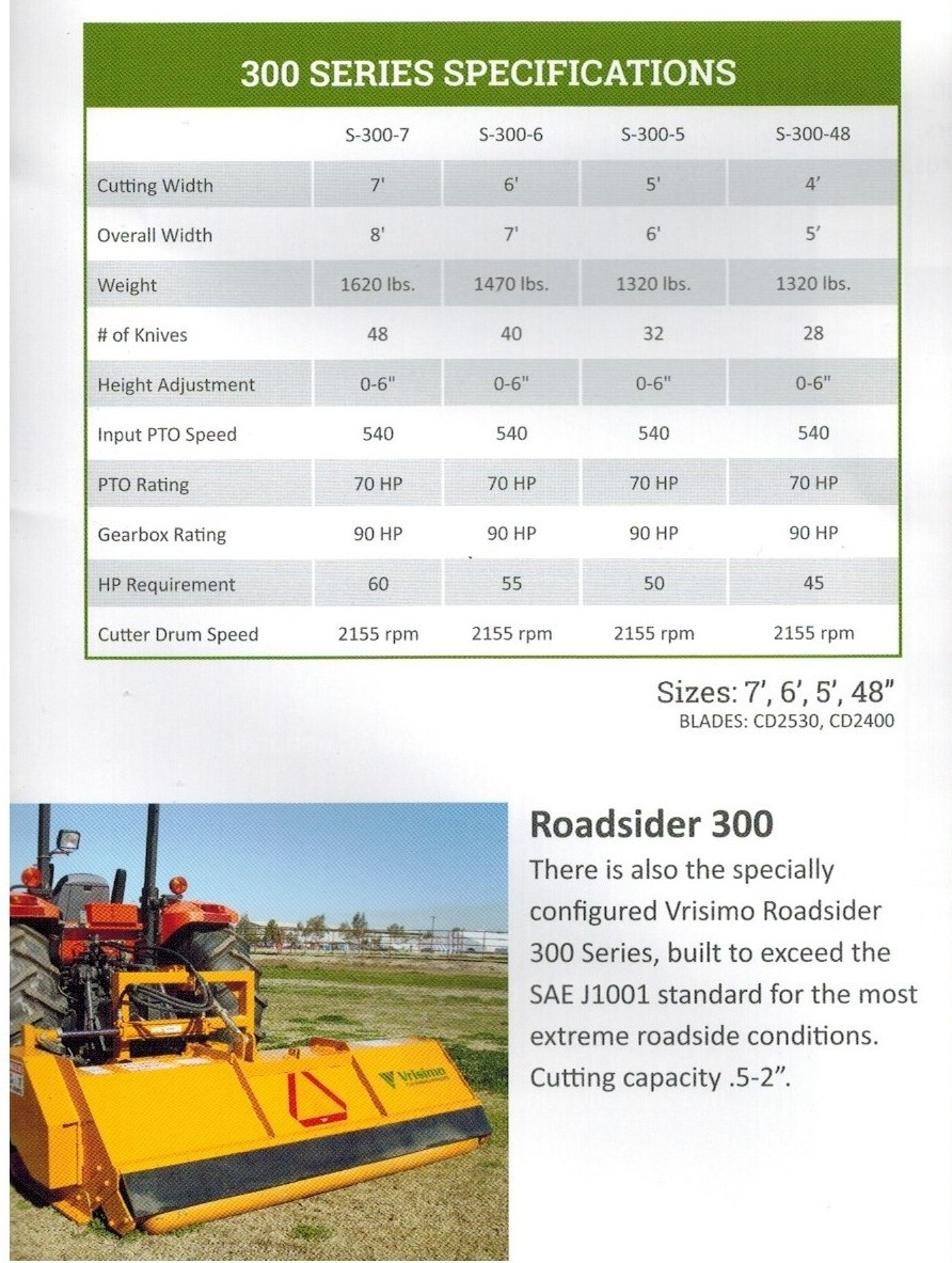 S-300 Series Brush Shredder Specifications