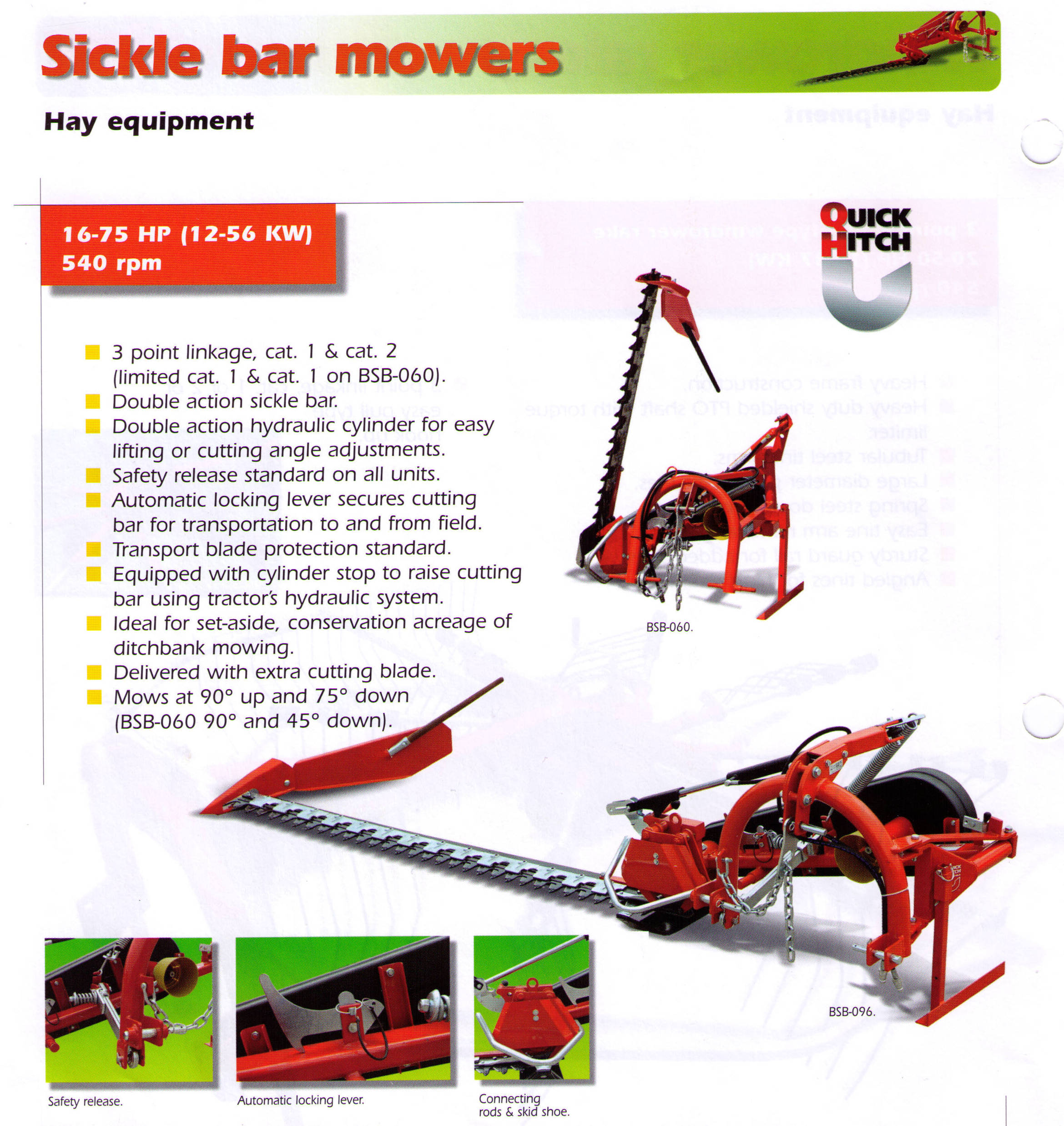 Features Befco Sicklebar Mowers