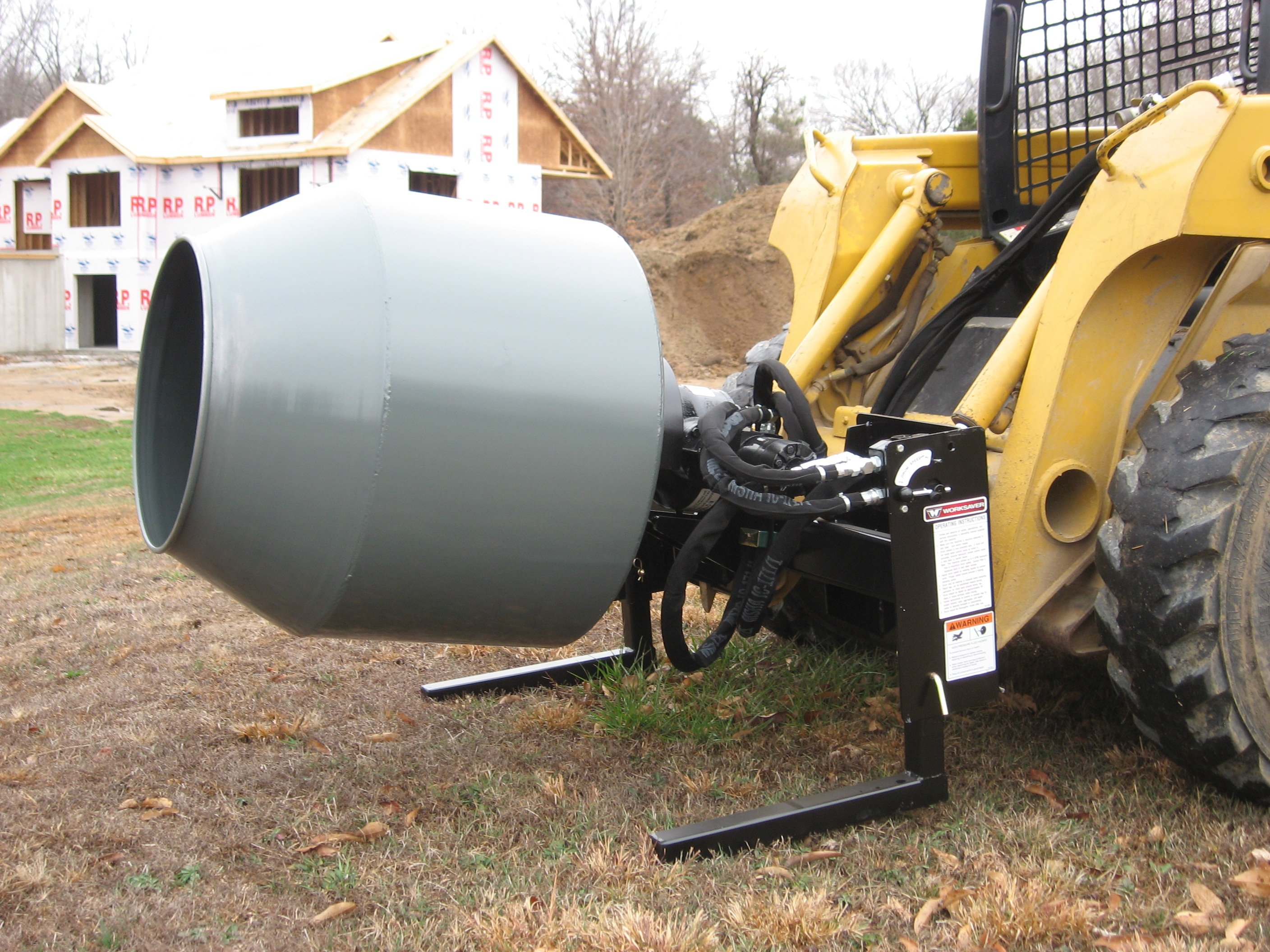 Model SS-590 Skid Steer Mounted Hydraulic Powered Cement Mixer