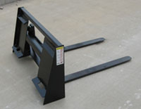 Integrated Frame Pallet Forks For Compact Tractor Loaders With Skid Steer Quick Attach Buckets