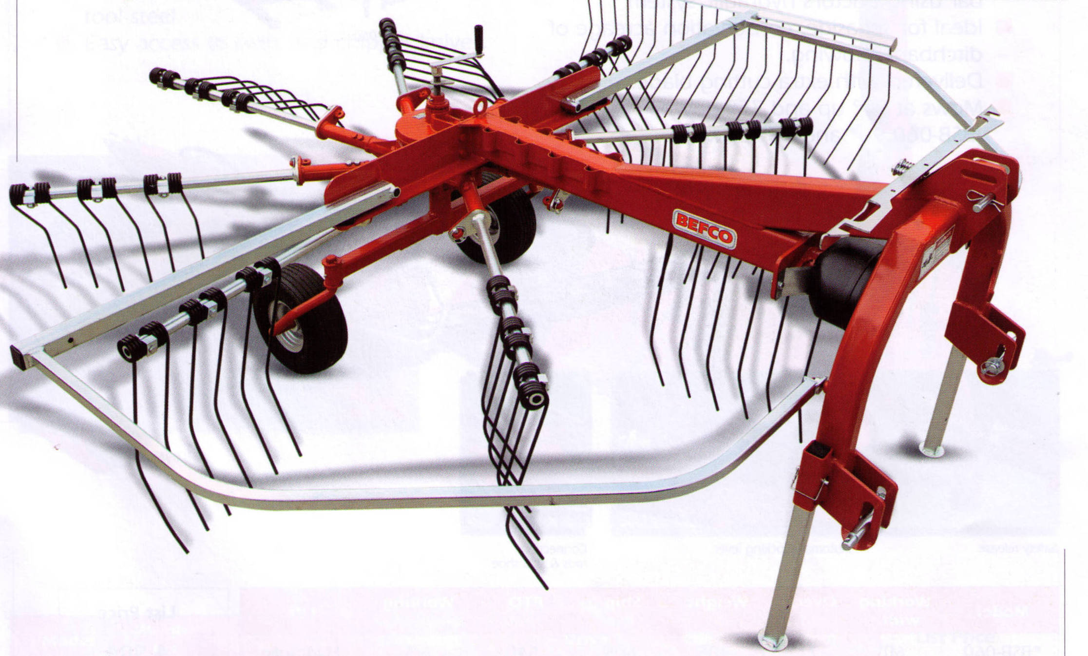 Befco Three Point Hitch Mount Windrower Rake, PTO Powered