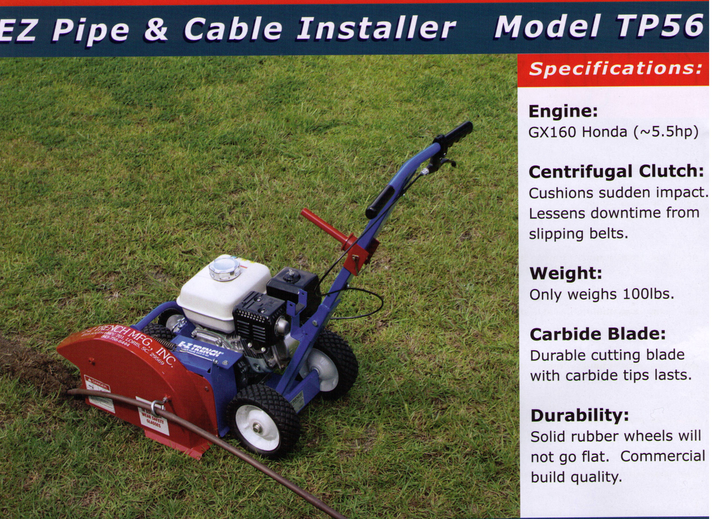 Specifications Model TP56 EZ Pipe And Cable Installer - www.wikco.com