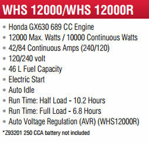 Features and Specifications Model WLHS12000 Backup Generator