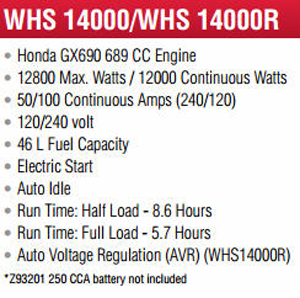 Features and Specifications Model WLHS14000 Backup Generator
