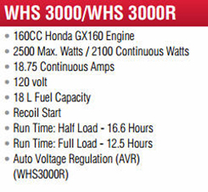 Features And Specifications Model WLHS3000 Backup Generator
