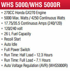 Features and Specifications Model WLHS5000 Backup Generator