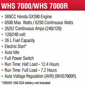 Features and Specifications Model WLHS7000 Backup Generator