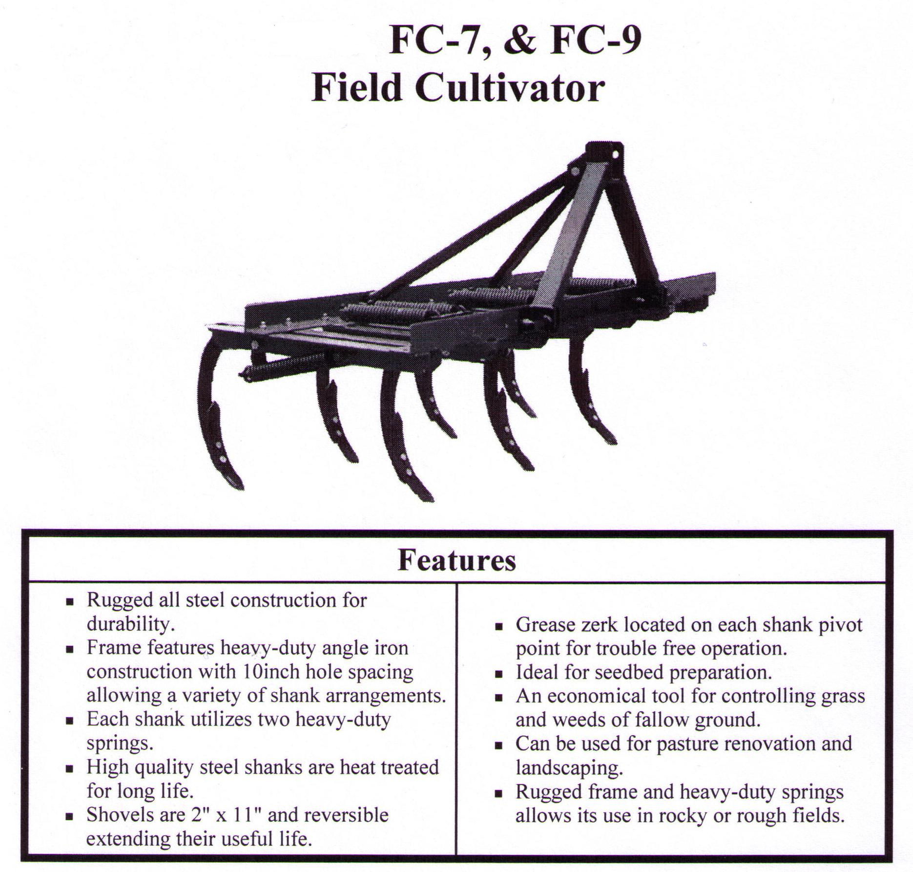 Field Cultivator Features