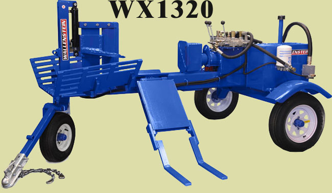 WX1320 Horizontal Three Wheel Cart Model (Off-Road Towing Only), 25 Ton Capacity, 24 Inch Maximum Log Length, 13 HP Honda Engine Power, With Elevator Loading Shelf