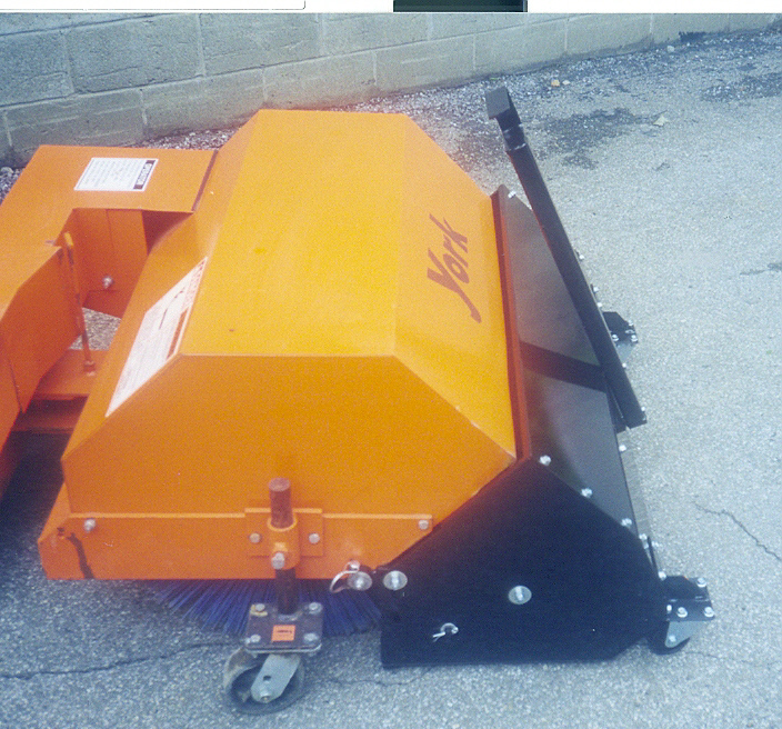Optional Steel Debris Hopper With Caster Wheels Available For Model YBWB Sweeper - The Hopper Is The Section Shown In Black In This Photo